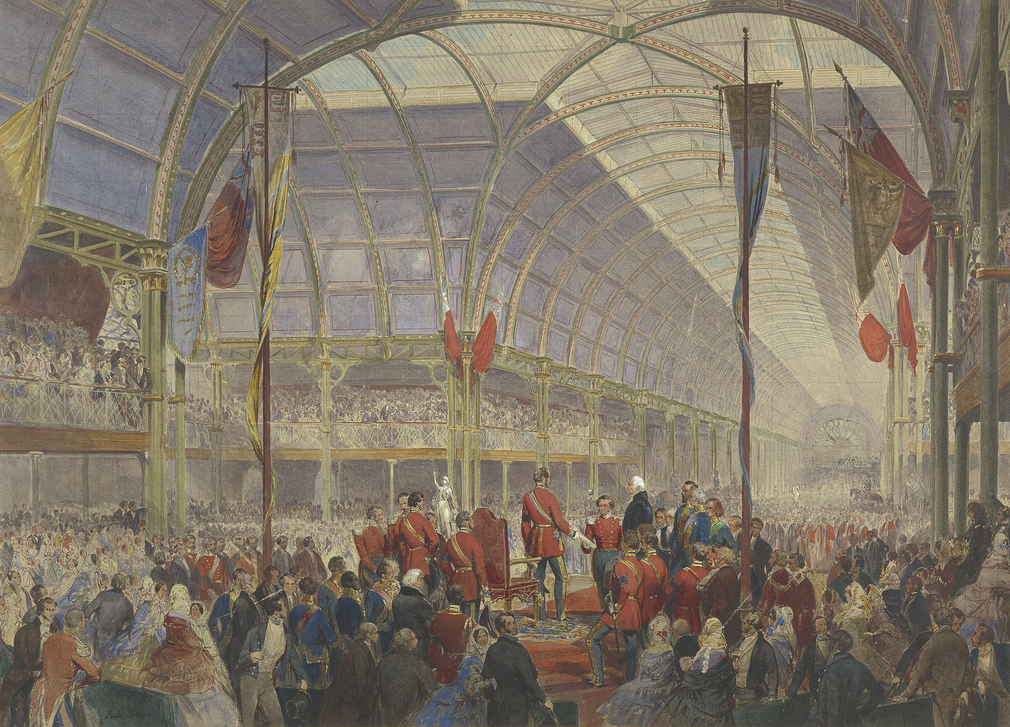 A watercolour depicting the opening ceremony of the Art Treasures exhibition in Manchester, which took place on 5 May 1857. The Prince stands on a dias, with Lord Overstone, President of the General Council, and Mr Thomas Fairbairn, Chairman of the Execut