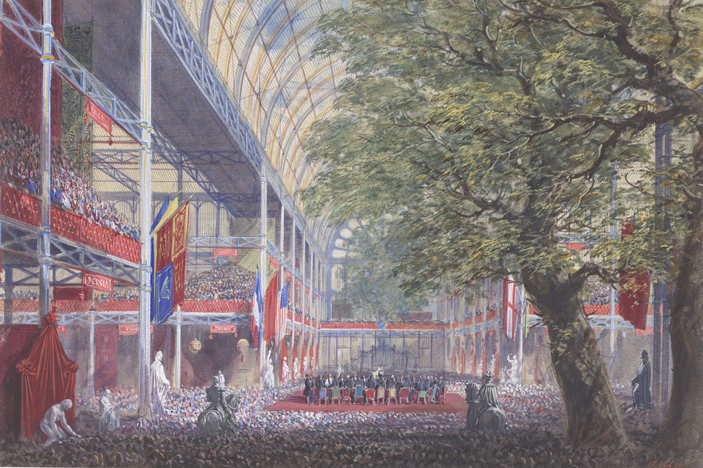 A watercolour of theinterior of the Crystal Palace, showing a crowded scene at the crossing, as the Prince Consort gives his closing speech. Signed and dated at bottom right: J Nash 1852.<br><br>This is one of a series of forty-nine watercolours co