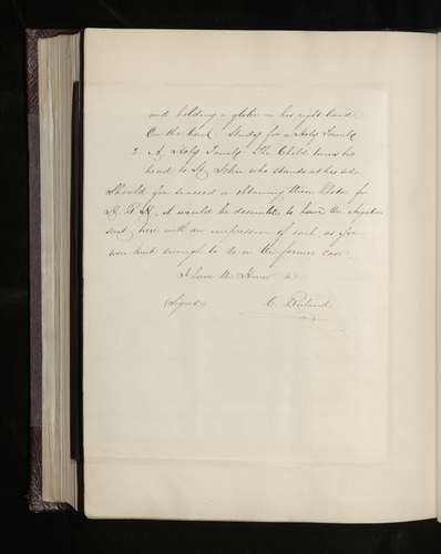 Copy letter from Charles Ruland to the British Minister in Madrid asking him to arrange for two drawings by Raphael belonging to Sr Jose de Madrazo to be photographed for the Prince Consort