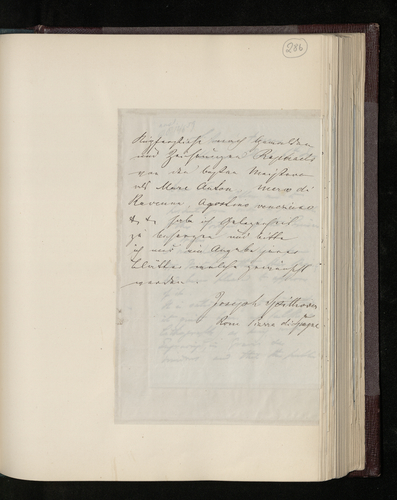 Note from the bookseller Joseph Spithover of Piazza di Spagna offering to supply engravings