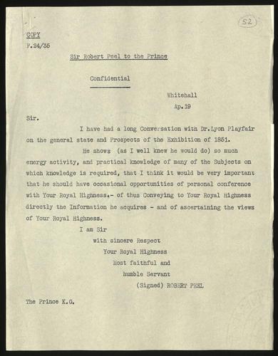 19 Apr 1850. Sir Robert Peel to Prince Albert