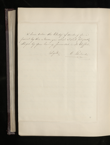Copy letter from Ruland to Sir Andrew Buchanan, the British Minister in Madrid, thanking him for his help and asking him to pay the photographer Charles Clifford for his work