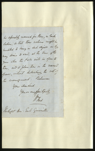 6 May 1850. Colonel Reid to Lord Granville