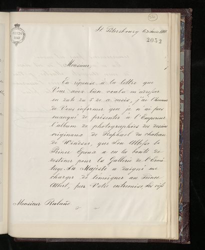 Letter from Charles Ruland to Count Schuwaloff conveying the Tsar's thanks for the album of photographs of the Raphael drawings at Windsor which the Prince Consort has sent for the Hermitage