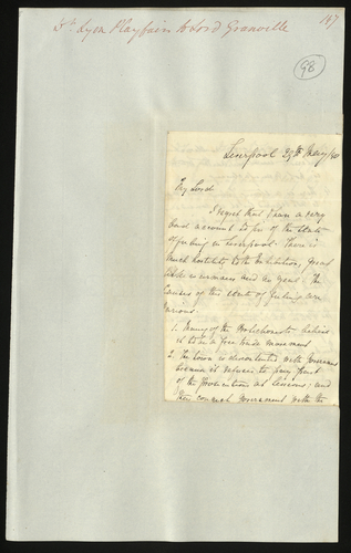 29 May 1850. Dr. Lyon Playfair to Lord Granville