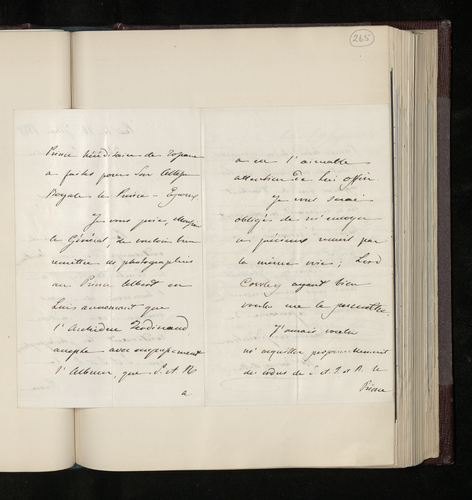 Letter from the Tuscan charge d'affaires in Paris to General [Grey] sending photographs made for the Prince Consort by Archduke Ferdinand of Tuscany