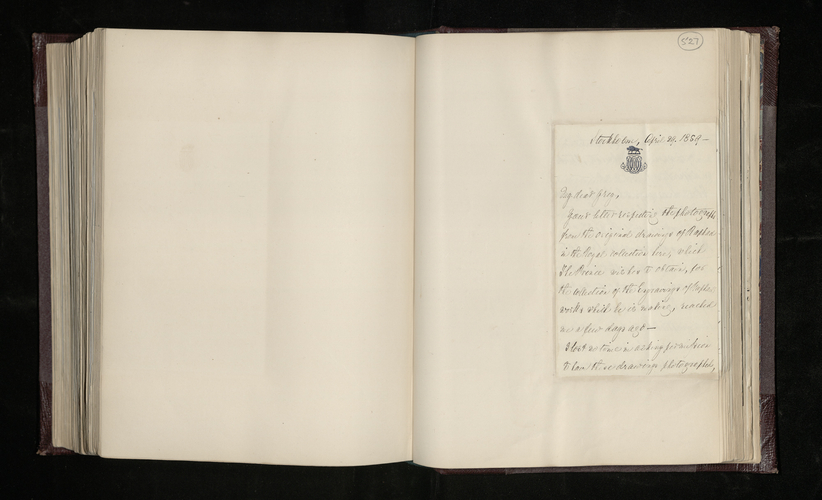 Letter from Sir Arthur Magenis, the British Envoy to Sweden, to General Charles Grey concerning the photographing of works by Raphael in the Swedish royal collection