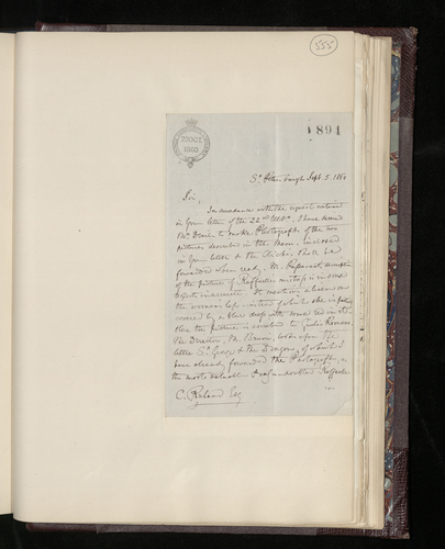 Letter from Hon. Edward Erskine, the British Charge d'Affaires in Russia, to Charles Ruland announcing that he has ordered photographs of the two pictures requested by Ruland and reporting the photog