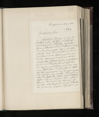 Letter from J. D. Passavant to Charles Ruland asking for news of the photographs of the Raphael Cartoons and announcing that photographs have now been taken of the [Raphael] paintings and drawings in