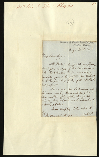 23 Aug 1849. Henry Cole to Colonel Phipps