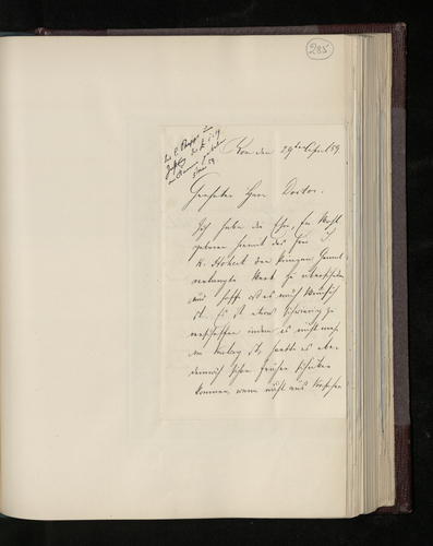 Letter from Joseph Kanne to Dr. Ernst Becker sending a book by Pontani/Pontanius requested by the Prince Consort