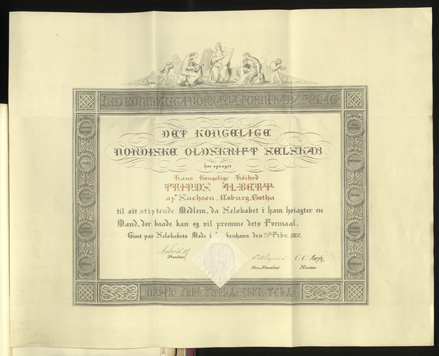 Certificate of Fellowship of the Royal Society of Northern Antiquaries
