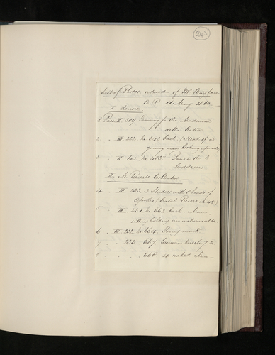Copy list of photographs of Raphael drawings in Paris ordered for the Prince Consort from Robert Bingham