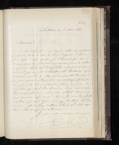 Letter from P. W. Grubb, the Director of the Royal Museum in Stockholm, to Charles Ruland announcing that the Timoteo Viti drawing has been photographed and the prints and plates given to the British