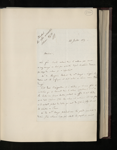 Letter from the curator of drawings at the Louvre to Dr. Ernst Becker concerning two volumes, owned by Prince Albert and the Louvre respectively, of engravings from the drawings collection of M. de Bo