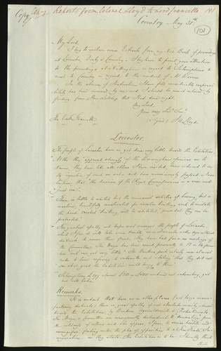 31 May 1850. Colonel Lloyd to Lord Granville