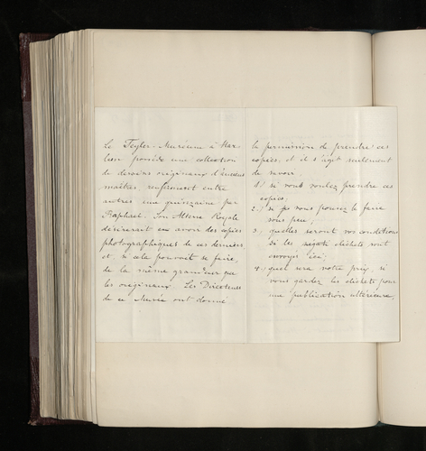 Draft letter from Dr. Ernst Becker to W. Tinker, a photographer in Haarlem, asking if he would be willing to photograph the Raphael drawings in the Teyler Museum, and if so when and under what conditi