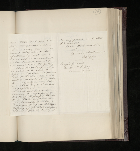 Letter from the British Envoy to Denmark to General Charles Grey concerning the photographing of works by, or attributed to, Raphael in the Danish royal collection