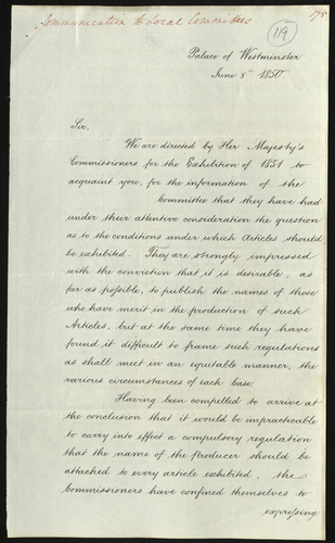 8 Jun 1850. Communication to Local Committees