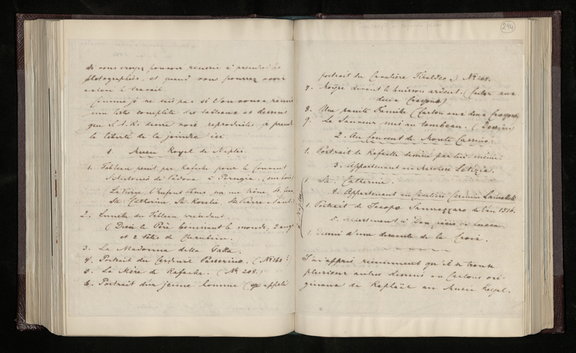 Copy letter from Charles Ruland to Monsieur Grillet at Naples, asking whether he will be able to photograph paintings and drawings by Raphael for the Prince Consort, and sending a list of them