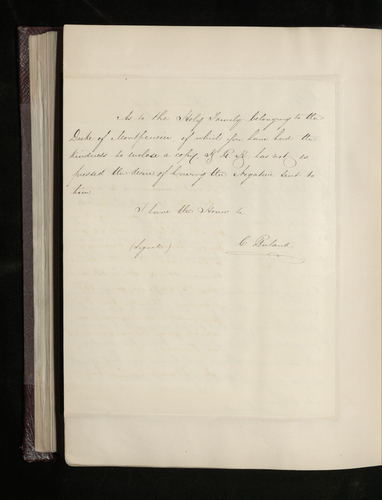 Copy letter from Ruland to Charles Clifford acknowledging receipt of the negatives from a drawing belonging to Sr Madrazo and asking for photographs of the other drawings mentioned by Clifford in his
