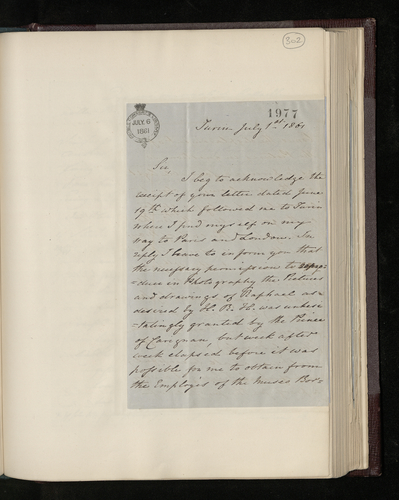 Letter from Augustus Craven to Charles Ruland explaining the delay in producing the photographs from Naples requested by the Prince Consort