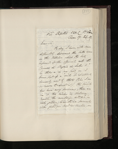 Letter from William Lake Price to Dr. Ernst Becker reporting that he has discovered the 'Camera di Bagno di Julio II' in the Vatican and suggesting that a cast could be taken from a sculpted panel i