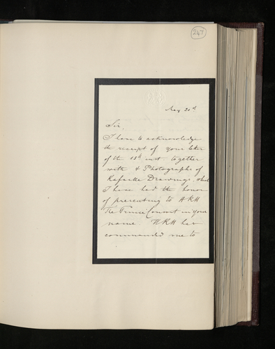 Draft letter from Charles Ruland to J. C. Robinson thanking him for the photographs he sent of four Raphael drawings