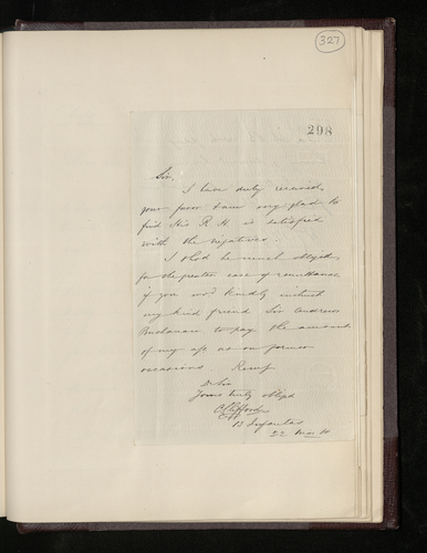 Letter from Charles Clifford to Ruland asking him to arrange for Sir Andrew Buchanan to pay his account as before