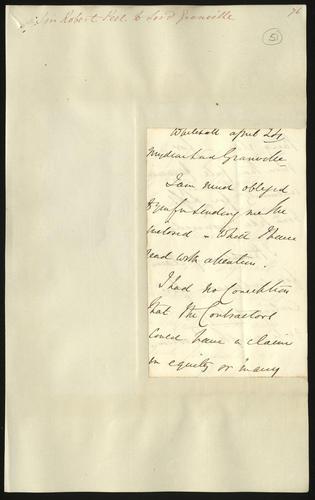[Apr 1850] Sir Robert Peel to Lord Granville