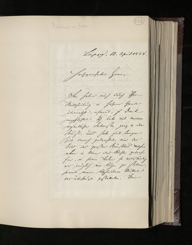 Letter from Dr. Hartel of Leipzig to Dr. Ernst Becker regarding the Prince Consort's authorisation for him to receive photographs of Raphael drawings at Windsor and the British Museum