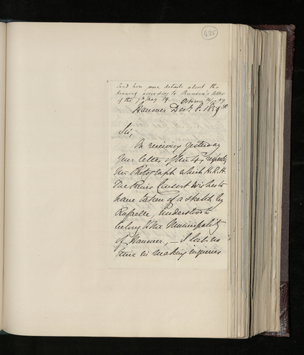 Letter from the British Envoy to Hanover to Dr. Ernst Becker regarding a request for a photograph of a Raphael drawing purported to be in Hanover