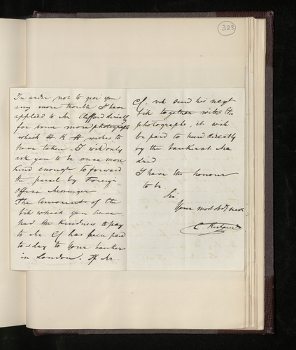 Copy letter from Ruland to the British Minister in Madrid thanking him for sending Clifford's negatives so promptly, and asking him to forward some more photographs Clifford is taking for the Prince