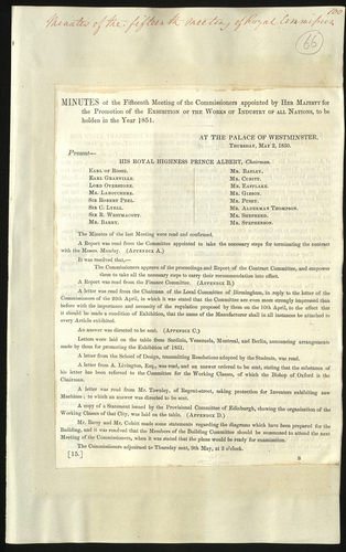 2 May 1850. Minutes of the fifteenth meeting of the Royal Commission