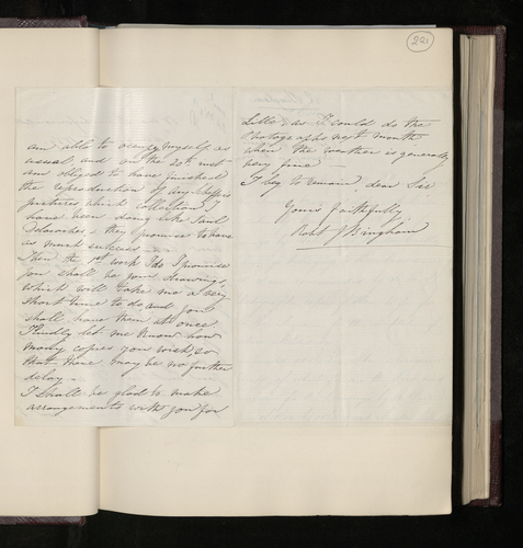 Letter from Robert Bingham explaining his delay in photographing drawings in the Louvre as requested by Dr Ernst Becker, and promising to do the work shortly