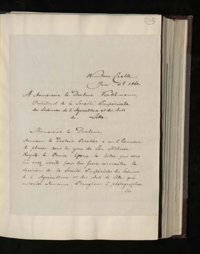 Copy letter from Charles Ruland to Dr. Kuhlmann, President of the Society of Sciences and Arts at Lille