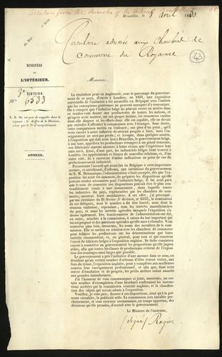 8 Apr 1850. Circular issued in Belgium