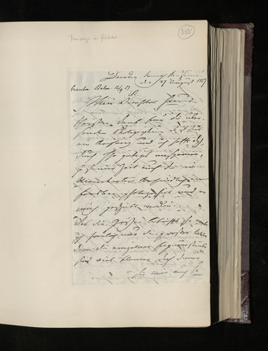 Letter from Ludwig Gruner to Dr. Ernst Becker concerning a collection of drawings of vases, urns, candelabra etc [by Raphael] which has been sent for the Prince Consort's inspection