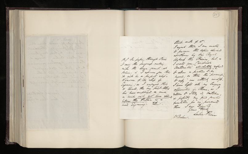 Letter from William Lake Price to Dr. Ernst Becker sending him a pendant to [his] portrait of the Prince of Wales, expressing regret that he could not fulfil the Prince Consort's commission in Rome