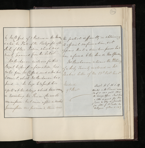 Letter from the British Minister in Madrid to Dr. Ernst Becker sending the plates and photographs of three pictures in the Madrid Museum, together with the photographer's account