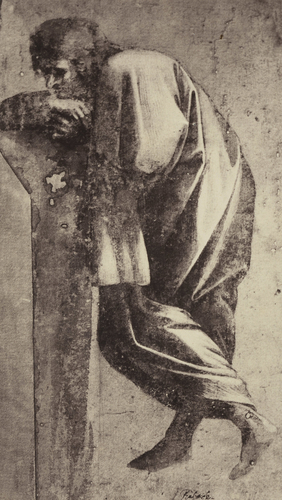 A draped man leaning on a parapet