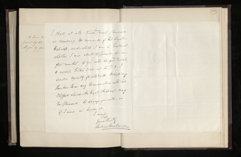 Letter from Sir Andrew Buchanan, the British Minister in Madrid, to Ruland enclosing Clifford's account for his work for the Prince Consort and offering to continue acting as go-between