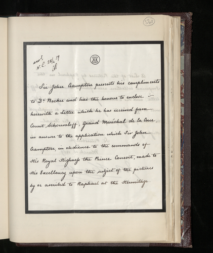 Letter from Sir John Crampton, the British Minister in St Petersburg, to Dr. Ernst Becker enclosing a letter from the Grand Marshal of the Russian Imperial Court regarding pictures by or ascribed to R