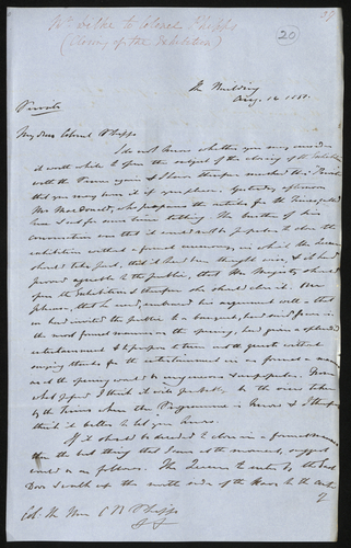 14 Aug 1851. Wentworth Dilke to Colonel Phipps