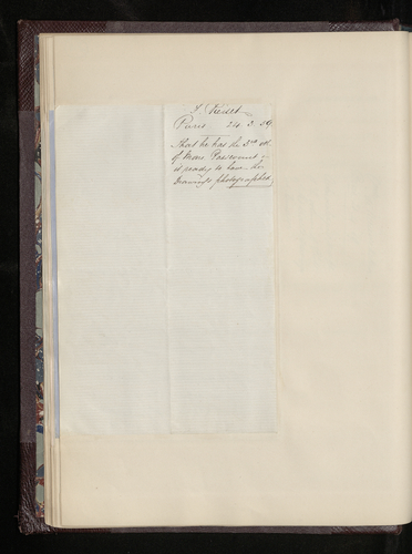 Letter from Frederic Reiset, curator at the Louvre, to [Dr. Ernst Becker] concerning the photographing of the Raphael drawings in the museum