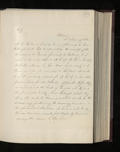 Copy letter from Charles Ruland to Messrs Colnaghi asking for Raphael drawings in a collection which is on sale to be photographed for the Prince Consort