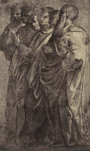 Six draped figures, standing turned to the left