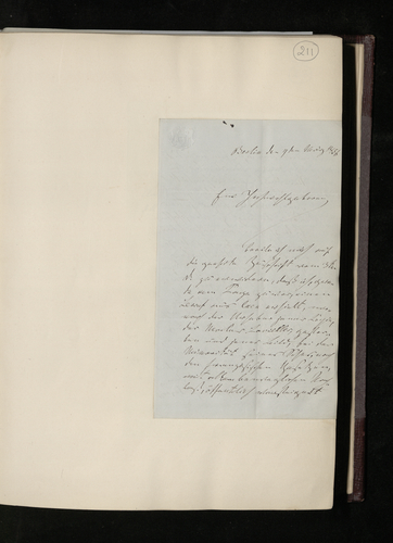 Letter from Dr. Waagen to Dr. Ernst Becker informing him that the Perugino copy is to be sold at auction following the death of the copyist, and telling him of the arrangements he has now made for its