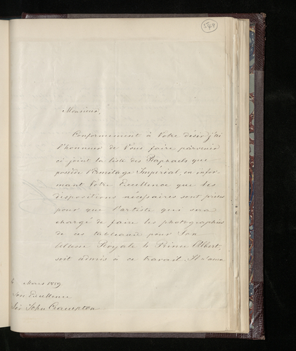 Letter from Andrei Schouvaloff, the Grand Marshal of the Russian Imperial Court, to Sir John Crampton, the British Minister in St. Petersburg sending a list of works by Raphael in the Hermitage