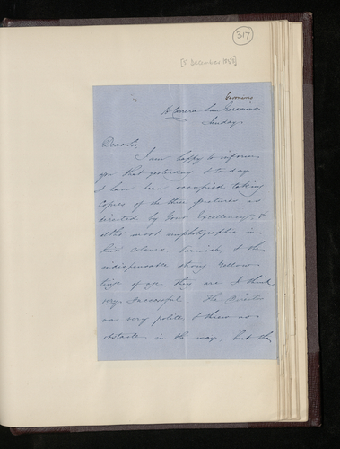 Letter from the photographer Charles Clifford to the British Minister in Madrid reporting that he has photographed the pictures [in the Royal Museum in Madrid] and will send the plates and photographs